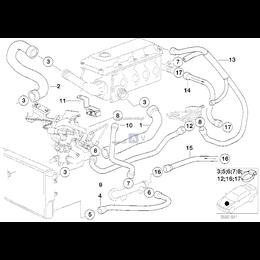Przewód elastyczny układu chłodzenia BMW E36 Z3 316i 318i - 11531743192