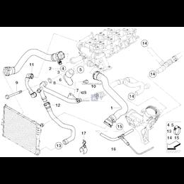 Przewód układu chłodzenia BMW E39 E46 520d 320d M47 - 11532247725