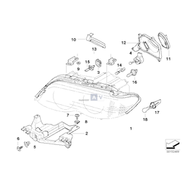 Pokrywka świateł drogowych BMW E53 X5 3,0d 3,0i 4,4i 4,6is 4,8is - 63126940252