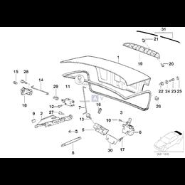 Uszczelka pokrywy bagażnika tył BMW E36 sedan 316i 318i 318is 318tds 320i 323i 325i 325tds 328i M3 - 51711977050