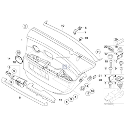 Korek maskujący zaślepka tapicerki drzwi tył BMW E65 E66 730 735 740 745 750 760 - 51417025647