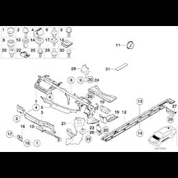Ścianka osłona komory silnika środkowa BMW E39 sedan 520i 523i 525i 528i 530i 530d prod. od 09.1998r - 51718158237
