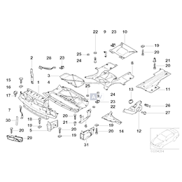 Osłona komory silnika nadkole dolna lewa BMW E38 725 728 730 735 740 750 - 51718150449