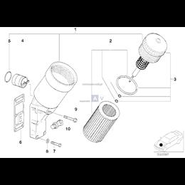 Zawór filtra oleju BMW E34 E36 E46 Z3 316i 318i 518i M43 318is 318ti M40 M42 M44 - 11421432228