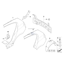 Osłona wnęki koła, tylna lewa - 51717123523