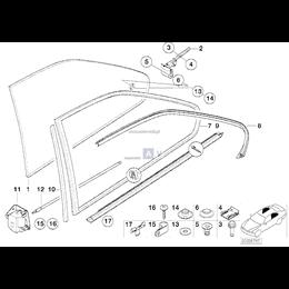 Osłona listwa szyby tył zewnętrzna dolna prawa BMW E36 Coupe 316 318 320 323 325 328 M3 - 51368119964