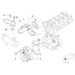 Uszczelka metalowa pompy wody BMW E39 E46 520d 318d 320d M47 - 11512247196