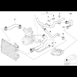 Przewód elastyczny układu chłodzenia lewy BMW E39 525d 530d M57 - 11532247820