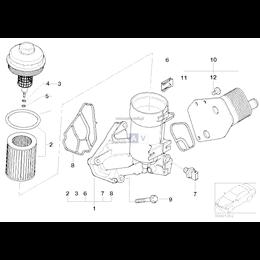 Uszczelka magistrali podstawy filtra oleju BMW E46 E60 E61 E83 E87 E90 E91 318d 320d 118d 120d 2,0d 520d M47N2 - 11427787695
