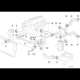 Przewód rurowy wodny powrotny BMW E36 318tds M41 prod do 09.1996 - 11532246688