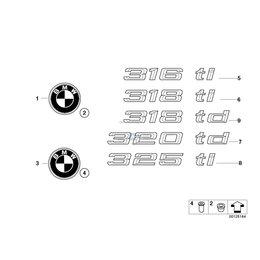 Emblemat znaczek tył BMW E39 E46 compact 520 523 525 528 530 535 540 M5 316ti 318ti 318td325ti 320td - 51148203864