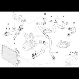 Przewód elastyczny układu chłodzenia wody BMW E46 330d 330Cd M57N - 11537789719