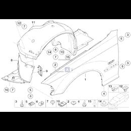 Osłona dolna nadkole lewa BMW E46 Compact 316 318 320 325 - 51718268373