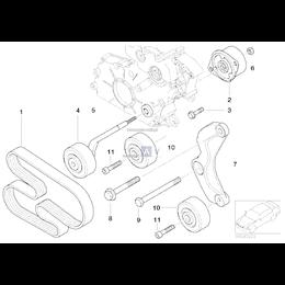 Uchwyt wspornik napinacza paska BMW E38 E39 E49 E53 X5 330d 525d 530d 730d - 11282248561