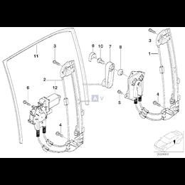 Podnośnik szyby tył prawy BMW E39 520 523 525 528 530 535 540 - 51358159836
