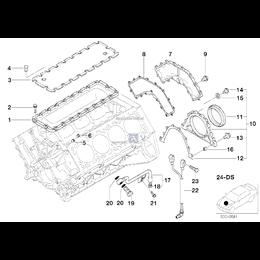 Uszczelka skrzyni korbowej BMW E31 E32 E34 E38 E39 E53 X5 840 730 740 735 535 540 530 V8 - 11141729836