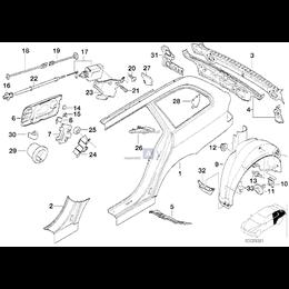 Uszczelka osłony progów tył lewa BMW E39 520 523 525 528 530 535 540 M5 - 51718222167